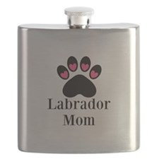 Labrador Mom Paw Print Flask