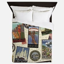 Cute Travel Queen Duvet