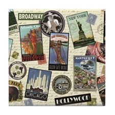 Cute Vintage travel Tile Coaster