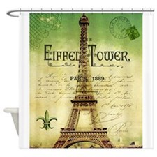 VINTAGE TRAVEL Eiffel Tower Shower Curtain
