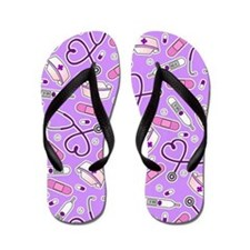 Nurse Love Print Purple Flip Flops
