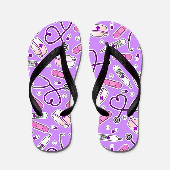 Nurse Love Print Purple Flip Flops