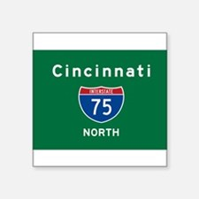 """Cincinnati 75 Square Sticker 3"""" X 3"""""""