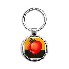 Heart Shaped Butt Tomato Round Keychain
