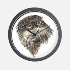 Cute Grumpy Otter Watercolor Animal art Wall Clock