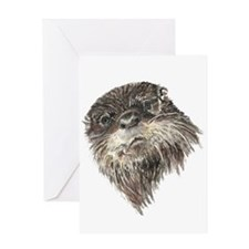 Cute Grumpy Otter Watercolor Animal art Greeting C