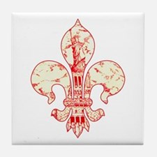 Fleur Statue of Liberty (red) Tile Coaster