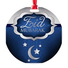 Royal Blue Eid Mubarak Round Ornament