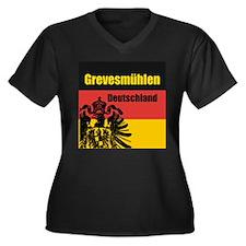Cute Kleinstadt Women's Plus Size V-Neck Dark T-Shirt