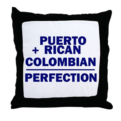 Puerto Rican + Colombian Throw Pillow