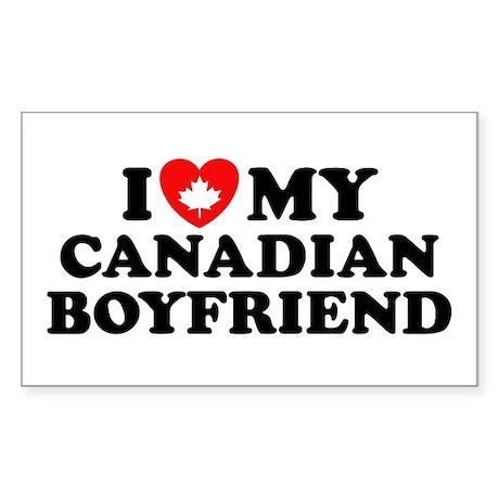 I Love My Canadian Boyfriend Rectangle Sticker