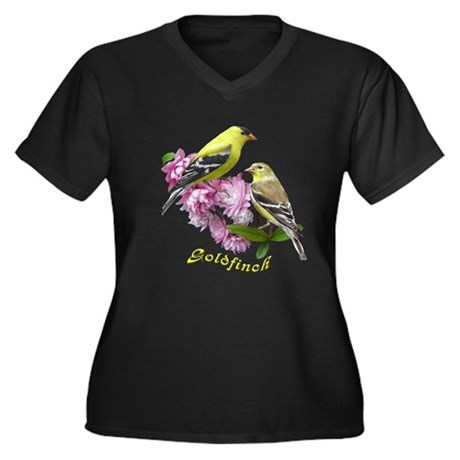 Goldfinch Women's Plus Size V-Neck Dark T-Shirt