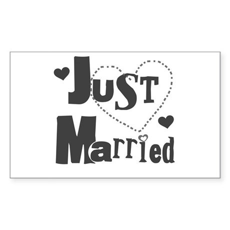 Just Married Black Sticker (Rectangle)