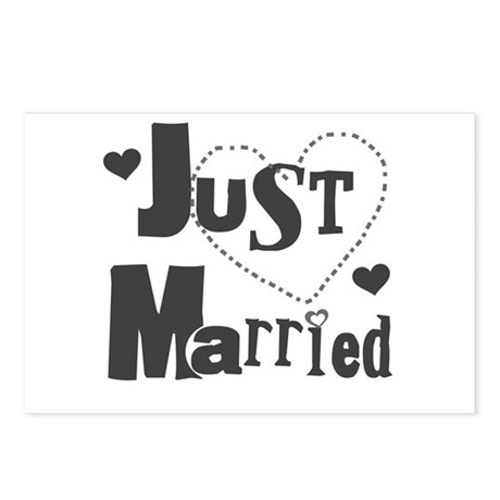 Just Married Black Postcards (Package of 8)