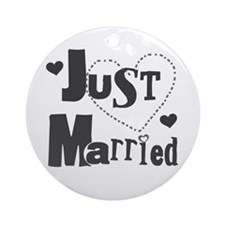 Just Married Black Ornament (Round)