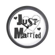 Just Married Black Wall Clock