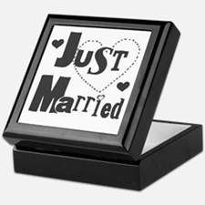 Just Married Black Keepsake Box