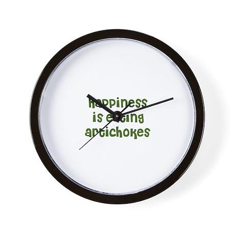 happiness is eating artichoke Wall Clock