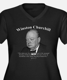 Winston Churchill 01 Women's Plus Size V-Neck Dark
