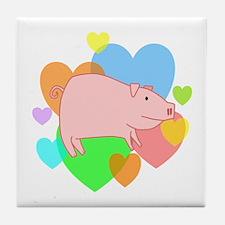 Pig Hearts Tile Coaster
