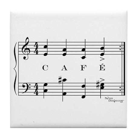 café (piano) Tile Coaster