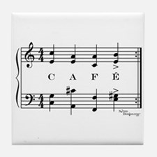 café (piano) Tile Coaster