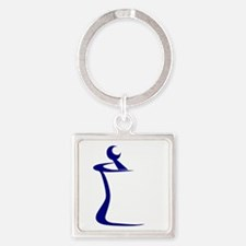 Blue Mortar and Pestle Square Keychain