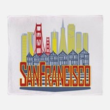 SF Golden Skyline Throw Blanket