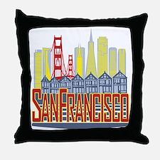 SF Golden Skyline Throw Pillow