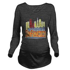 SF Golden Skyline Long Sleeve Maternity T-Shirt