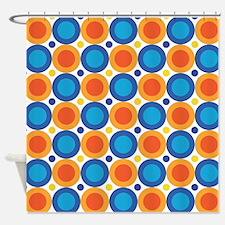 Orange Blue Circles Shower Curtains Orange Blue Circles Fabric