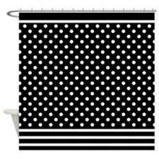 Dots and Stripes Black White Shower Curtain