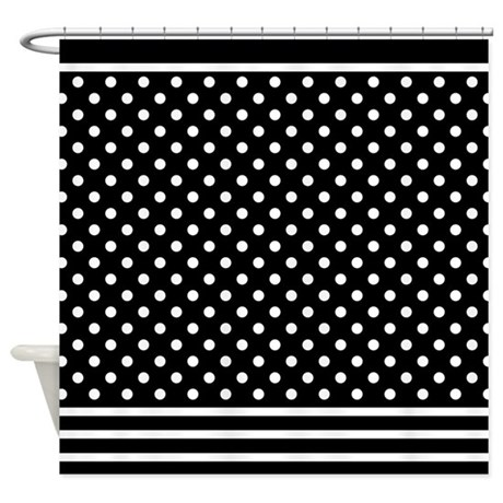 Dots And Stripes Black White Shower Curtain By Mainstreethomewares