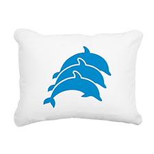 Jumping Dolphins Rectangular Canvas Pillow