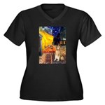 Cafe & Golden Women's Plus Size V-Neck Dark T-Shir