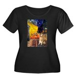 Cafe & Golden Women's Plus Size Scoop Neck Dark T-