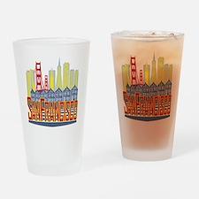 SF Golden Skyline Drinking Glass