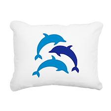 Blue Dolphins Rectangular Canvas Pillow