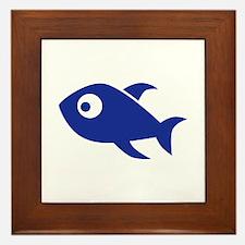 Blue Comic Fish Framed Tile