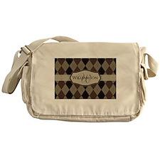 Brown Argyle Monogram Name Messenger Bag