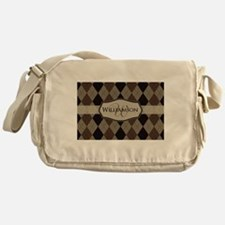 Brown Argyle Monogram Name Messenger Bag
