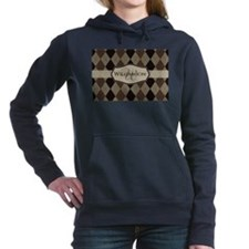 Brown Argyle Monogram Name Women's Hooded Sweatshi