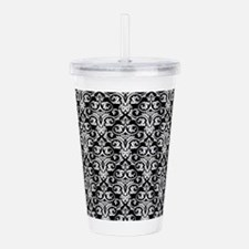 Black/White Damask Baroque Pattern Acrylic Double-