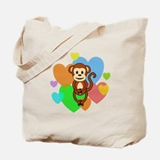 Monkey Hearts Tote Bag