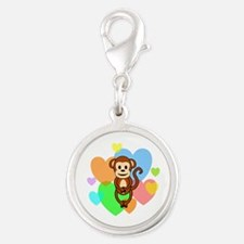 Monkey Hearts Silver Round Charm
