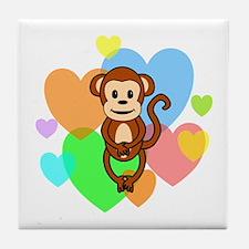 Monkey Hearts Tile Coaster