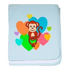 Monkey Hearts baby blanket