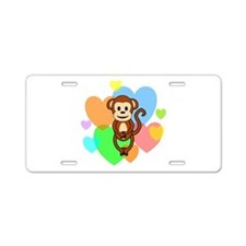 Monkey Hearts Aluminum License Plate