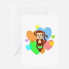 Monkey Hearts Greeting Card
