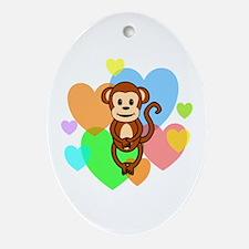 Monkey Hearts Ornament (Oval)